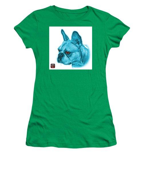Cyan French Bulldog Pop Art - 0755 Wb Women's T-Shirt (Athletic Fit)