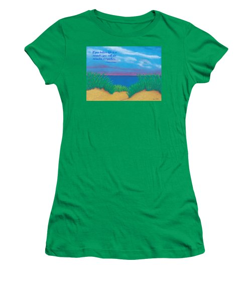 Dunes At Dawn - With Quote Women's T-Shirt