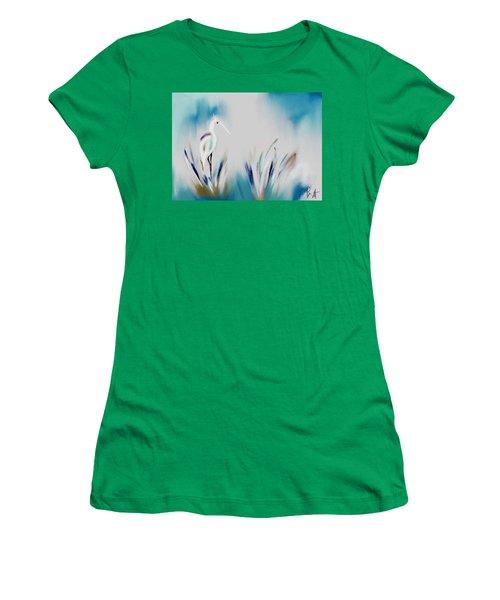 Egret Splash Women's T-Shirt (Junior Cut) by Frank Bright