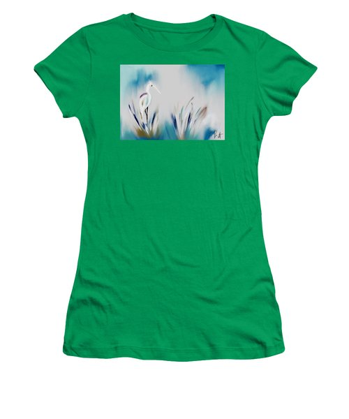 Egret Splash Women's T-Shirt (Athletic Fit)
