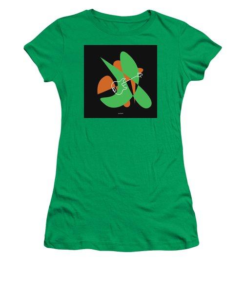 Electric Bass In Green Women's T-Shirt (Junior Cut) by David Bridburg