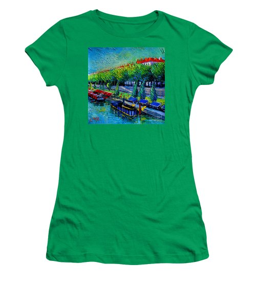 Festive Barges On The Rhone River Women's T-Shirt