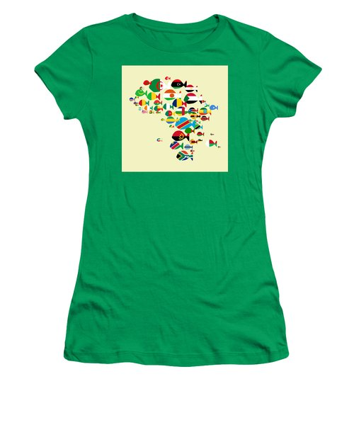 Fishes Map Of Africa Women's T-Shirt (Junior Cut) by Keshava Shukla