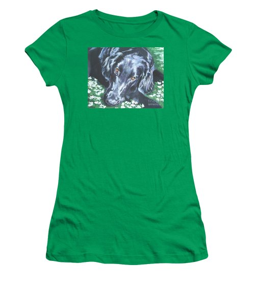 Women's T-Shirt (Junior Cut) featuring the painting Flat Coated Retriever by Lee Ann Shepard