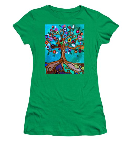 Women's T-Shirt (Athletic Fit) featuring the painting Flourishing Tree by Pristine Cartera Turkus