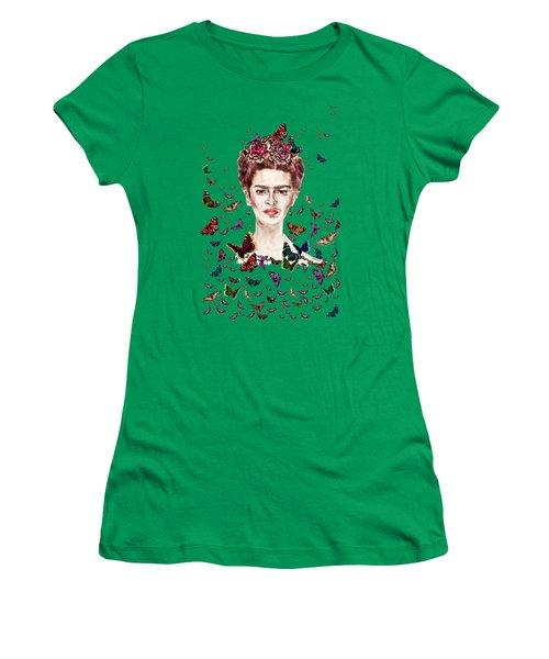 Frida Kahlo Flowers Butterflies Women's T-Shirt
