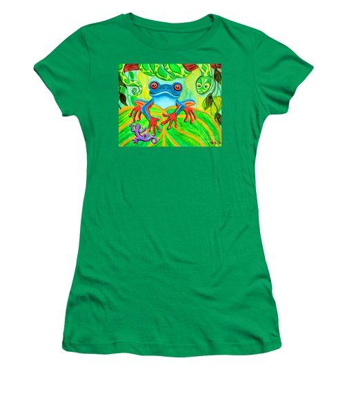 Frog Snake And Gecko In The Rainforest Women's T-Shirt (Junior Cut) by Nick Gustafson
