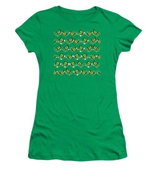 Green Butterflies Pattern Women's T-Shirt