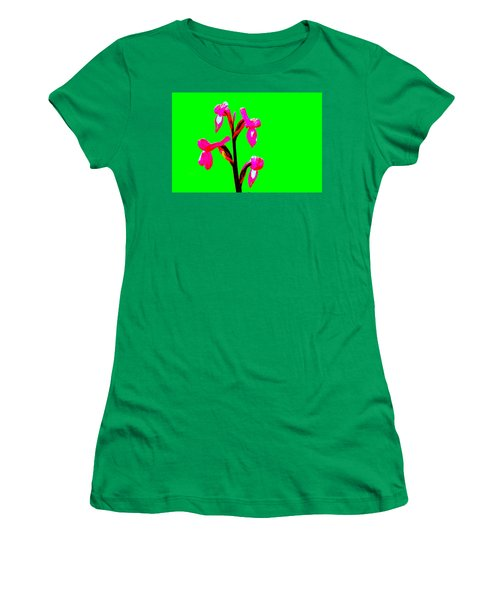 Green Champagne Orchid Women's T-Shirt (Junior Cut) by Richard Patmore
