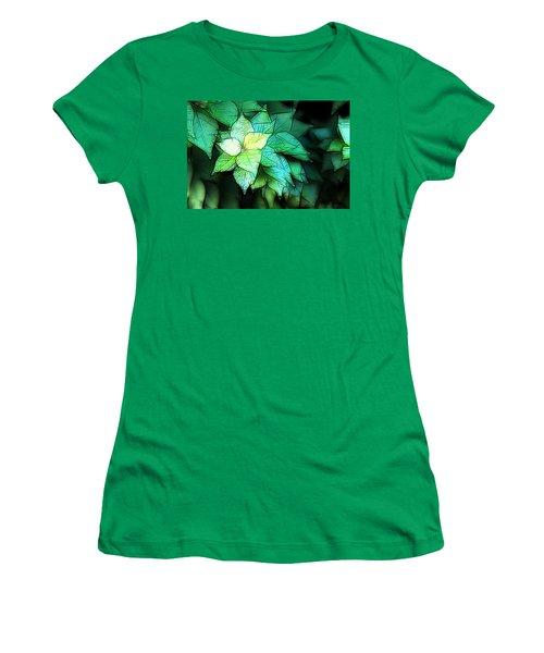 Green Leaves Women's T-Shirt (Junior Cut) by Carol Crisafi