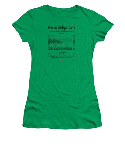 Green Midget Cafe Menu T-shirt Black Letters Women's T-Shirt (Athletic Fit)