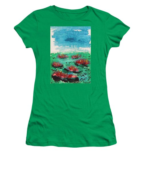 Green Pond With Many Flowers Women's T-Shirt (Athletic Fit)