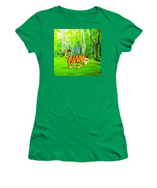 Hungry Tiger In The Jungle Women's T-Shirt (Athletic Fit)