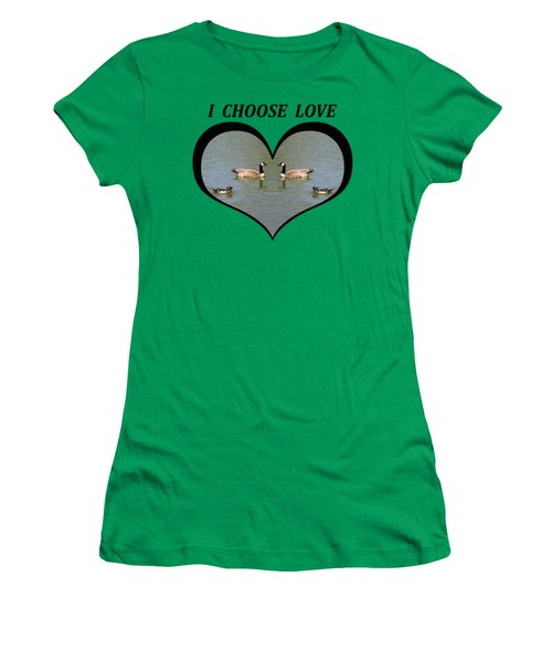 I Chose Love With A Spoonbill Duck And Geese On A Pond In A Heart Women's T-Shirt (Junior Cut) by Julia L Wright