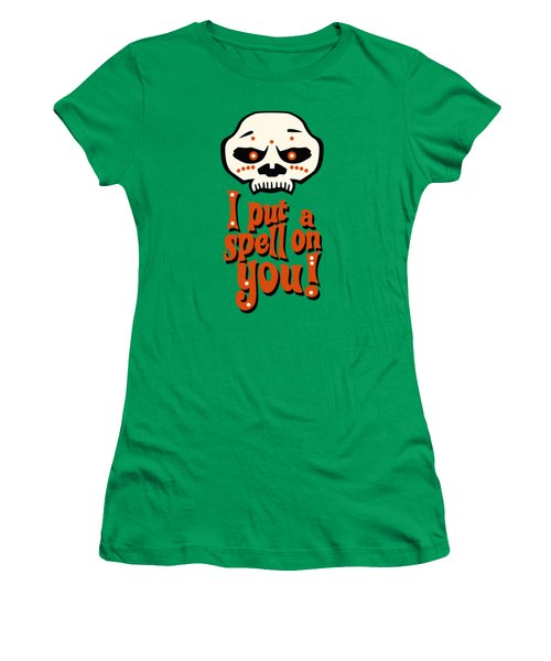 I Put A Spell On You Voodoo Retro Poster Women's T-Shirt (Junior Cut) by Monkey Crisis On Mars