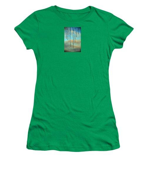 Women's T-Shirt (Junior Cut) featuring the photograph Ice Sickles - Winter In Switzerland  by Susanne Van Hulst