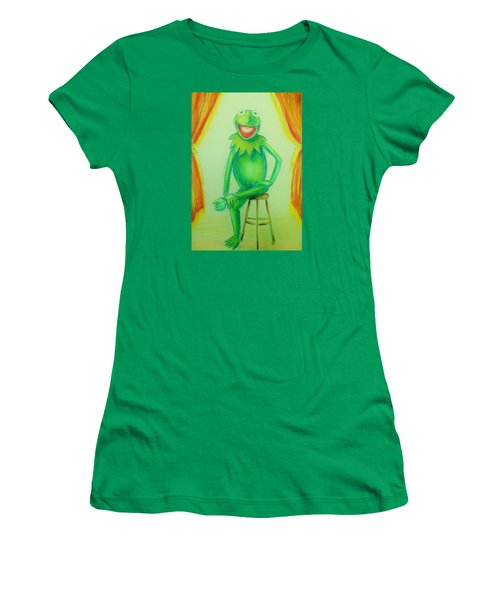 Women's T-Shirt (Junior Cut) featuring the drawing It's Not Easy Being Green by Denise Fulmer