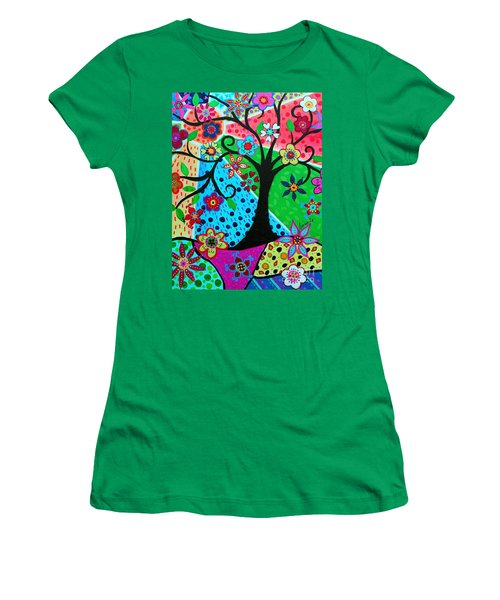 Women's T-Shirt (Athletic Fit) featuring the painting Jodi's Tree Of Life by Pristine Cartera Turkus