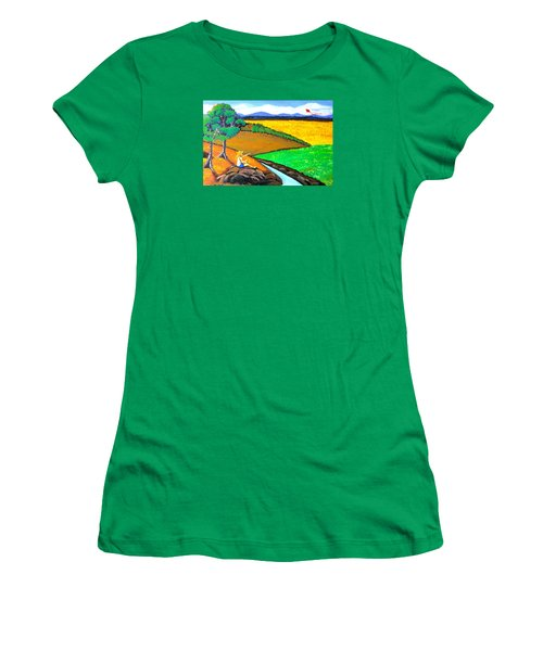 Women's T-Shirt (Junior Cut) featuring the painting Kite by Cyril Maza