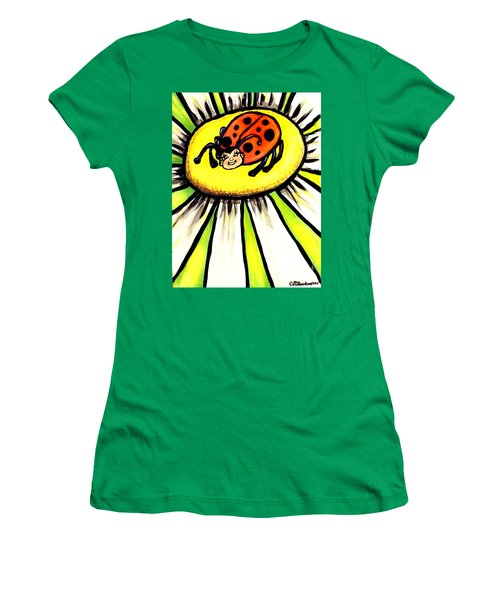 Women's T-Shirt (Junior Cut) featuring the painting Ladybug On A Flower by Patricia L Davidson