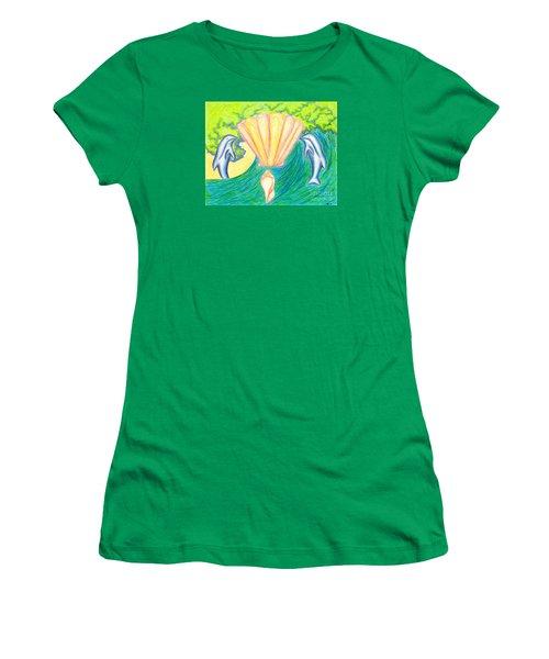 Women's T-Shirt (Junior Cut) featuring the drawing Lemuria Atlantis by Kim Sy Ok