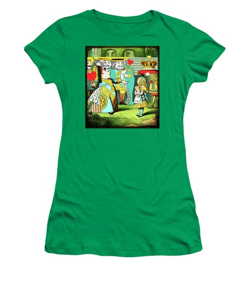 Lewis Carrolls Alice, Red Queen And Cards Women's T-Shirt (Junior Cut) by Marian Cates