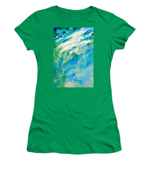 Women's T-Shirt (Junior Cut) featuring the painting Liquid Assets by Dina Dargo
