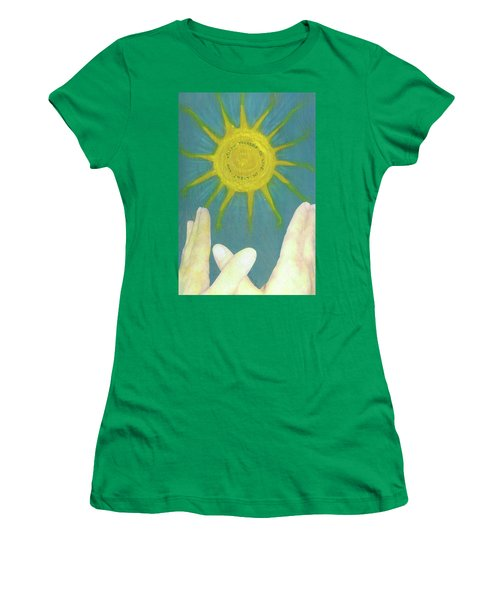 Women's T-Shirt (Junior Cut) featuring the mixed media Live In Light by Desiree Paquette