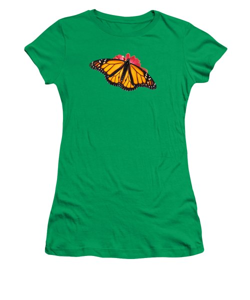 Women's T-Shirt featuring the photograph Monarch Butterfly On Red Mums by Christina Rollo