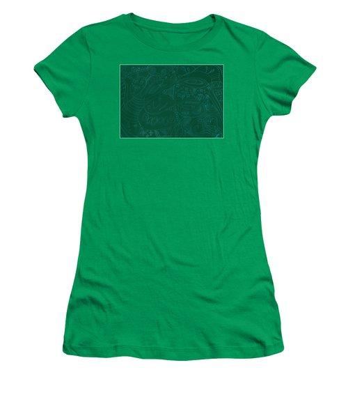 Moonfish Drawing Negative Green Chalk Women's T-Shirt