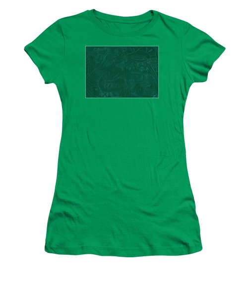 Moonfish Drawing Negative Green Chalk Women's T-Shirt