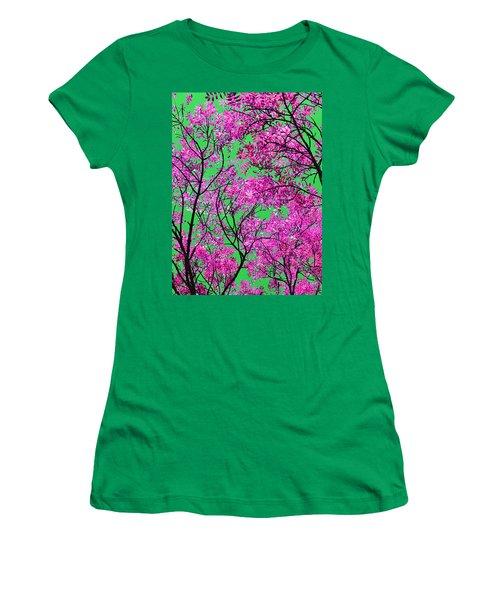 Natures Magic - Pink And Green Women's T-Shirt (Junior Cut) by Rebecca Harman