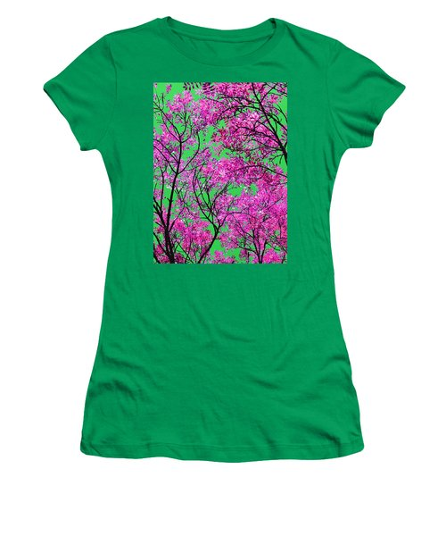 Natures Magic - Pink And Green Women's T-Shirt (Athletic Fit)