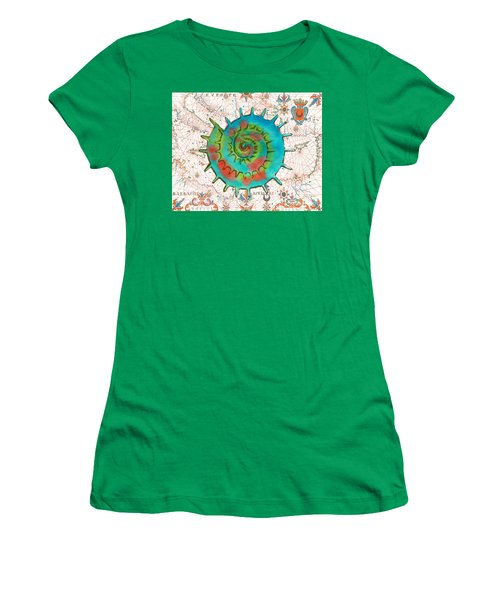 Women's T-Shirt (Junior Cut) featuring the painting Nautical Treasures-m by Jean Plout