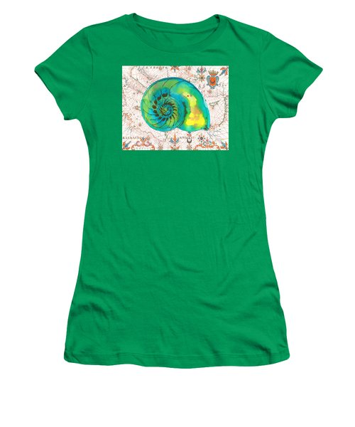 Women's T-Shirt (Junior Cut) featuring the painting Nautical Treasures-n by Jean Plout