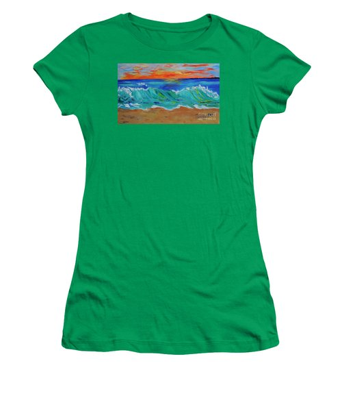 Women's T-Shirt (Junior Cut) featuring the painting Ocean Sunset by Haleh Mahbod