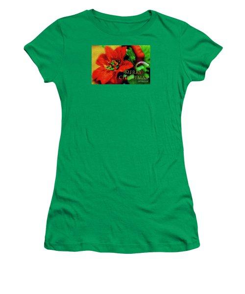 Painted Poinsettia Merry Christmas Women's T-Shirt (Junior Cut) by Sandy Moulder