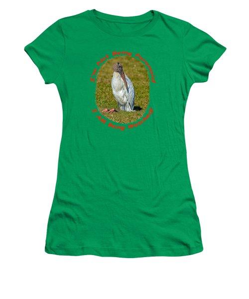 Paranoid Woodstork Women's T-Shirt (Junior Cut) by John M Bailey