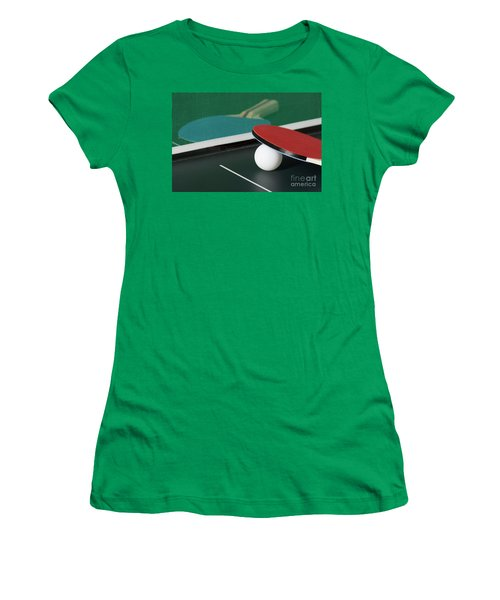 Ping Pong Paddles On Table With Net Women's T-Shirt (Athletic Fit)