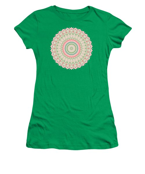Pink And Green Mandala Fractal 004 Women's T-Shirt (Athletic Fit)