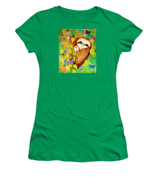 Rain Forest Survival Mother And Baby Three Toed Sloth Women's T-Shirt (Athletic Fit)