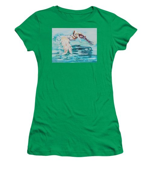 Women's T-Shirt (Junior Cut) featuring the painting Ready To Take Off by Mary Haley-Rocks