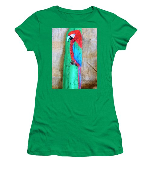 Red And Green Macaw  Women's T-Shirt (Junior Cut) by Ann Michelle Swadener