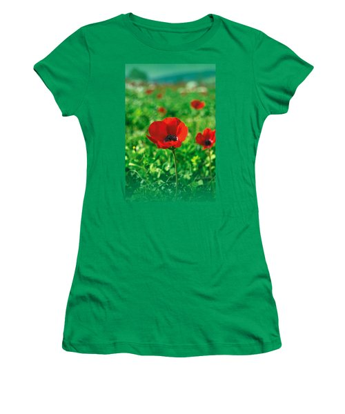 Red Anemone Coronaria T-shirt Women's T-Shirt (Junior Cut) by Isam Awad
