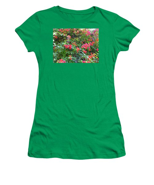 Women's T-Shirt (Athletic Fit) featuring the photograph Red Flower Hedge by Francesca Mackenney