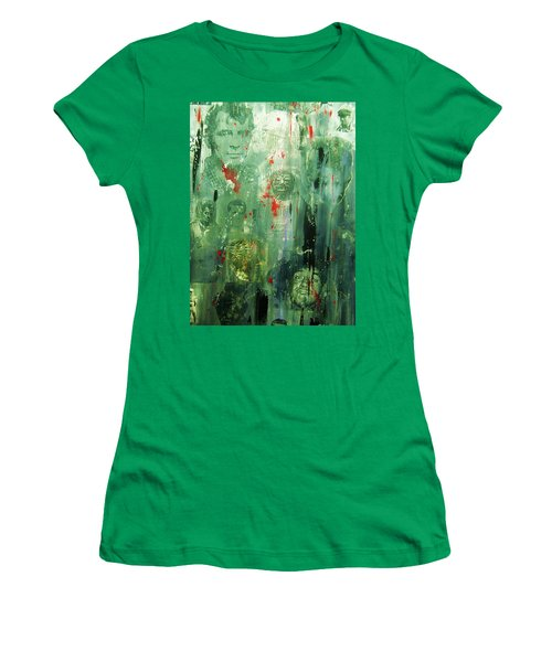 Women's T-Shirt (Junior Cut) featuring the painting Remembering Kerouac by Roberto Prusso