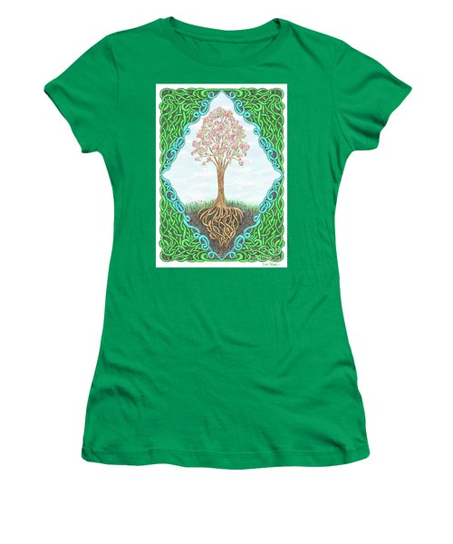 Women's T-Shirt (Athletic Fit) featuring the drawing Spring Tree With Knotted Roots And Knotted Border by Lise Winne