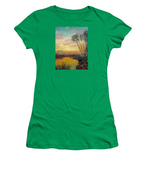 Women's T-Shirt (Junior Cut) featuring the painting St. Johns Sunset by Dawn Harrell