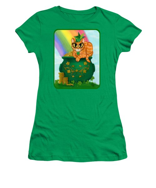 Women's T-Shirt (Athletic Fit) featuring the painting St. Paddy's Day Cat - Orange Tabby by Carrie Hawks