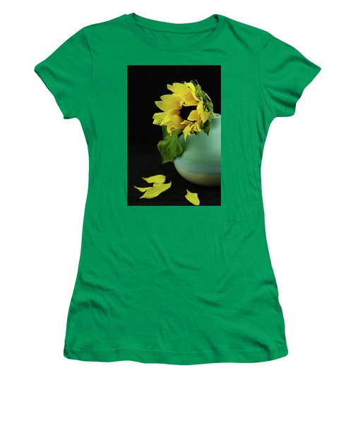 Sunflower In Blue Pottery Women's T-Shirt (Athletic Fit)